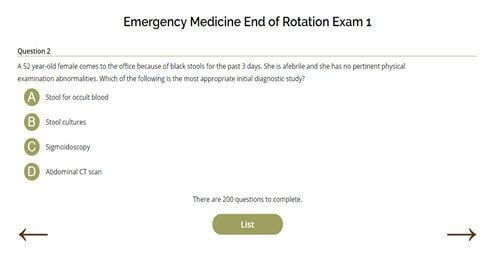 Emergency Medicine End of Rotation Exam One