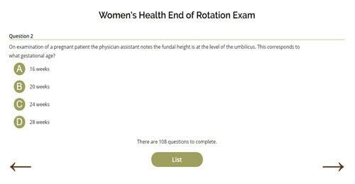 Women's Health End of Rotation Exam