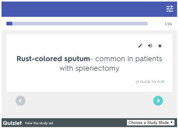 Pulmonology Quizlet Flashcards